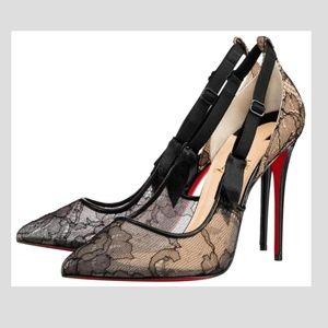 Louboutin Nappa Chantilly Lace Heels Pumps 36
